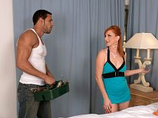 While boyfriend sleeps, Sasha copulates Mr. Fix-It