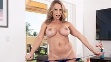 A busty MILF gets her ass ready for cock